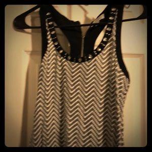 Candies black & white rhinestone racerback blouse
